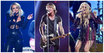 """This combination photo shows country music stars, from left, Miranda Lambert, Keith Urban and Carrie Underwood, who are among  23 performers that will be featured in """"ACM Presents: Our Country,"""" an at-home country music special that is airing on CBS on April 5, in lieu of their delayed Academy of Country Music awards show. (AP Photo)"""