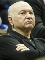 FILE - In this Sunday, April 17, 2011 file photo, former Moscow Mayor Yuri Luzhkov attends a Fed Cup World Group semifinal tennis match between Russia and Italy in Moscow, Russia. The former mayor of Moscow and one of the founders of Russia's ruling United Russia party, Yuri Luzhkov, has died at the age of 83. Russia's Ren TV channel reported Tuesday Dec. 10, 2019, that Luzhkov died in Munich, where he was undergoing heart surgery. (AP Photo/Misha Japaridze, File)