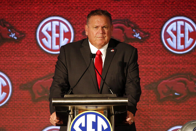 Arkansas head coach Sam Pittman speaks to reporters during an NCAA college football news conference at the Southeastern Conference media days, Thursday, July 22, 2021, in Hoover, Ala. (AP Photo/Butch Dill)