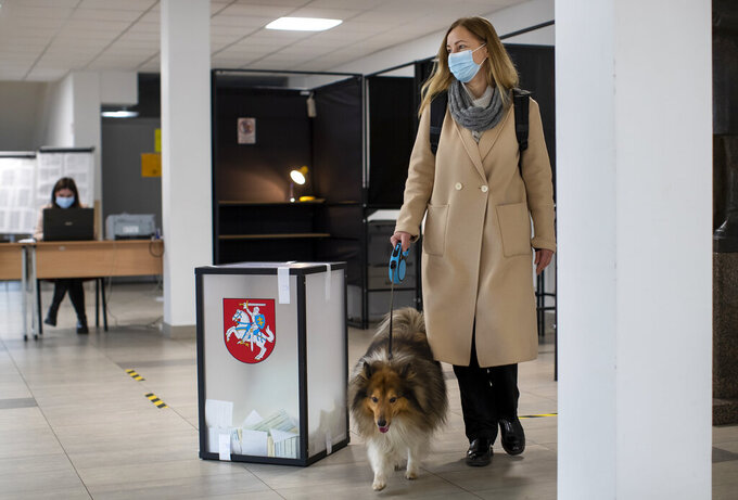A woman with a dog, wearing face mask to protect against coronavirus, arrives at a polling station during the second round of a parliamentary election in Vilnius, Lithuania, Sunday, Oct. 25, 2020. Polls opened Sunday for the run-off of national election in Lithuania, where the vote is expected to bring about a change of government following the first round, held on Oct. 11, which gave the three opposition, center-right parties a combined lead. (AP Photo/Mindaugas Kulbis)