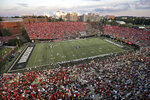Georgia fans (wearing red) fill most of Vanderbilt Stadium in the first half of an NCAA college football game against Vanderbilt, Saturday, Aug. 31, 2019, in Nashville, Tenn. (AP Photo/Mark Humphrey)