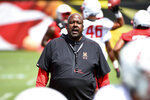 FILE - In this Aug. 2, 2019, file photo, Maryland head coach Mike Locksley speaks to his team as they work out during NCAA college football training camp in College Park, Md. With a new quarterback in Josh Jackson and a revamped playbook with an Alabama flair, Maryland's offense under first-year coach Locksley has the potential to ring up plenty of points. (AP Photo/Will Newton, File)