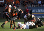 Oregon State's Artavis Pierce carries the ball against Southern Utah during an NCAA college football game Saturday, Sept. 8, 2018, in Corvallis, Ore. (Andy Cripe/The Corvallis Gazette-Times via AP)