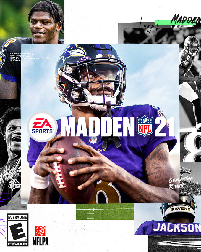 This image provided by EA Sports shows the cover of the Madden 21 video game, featuring Baltimore Ravens quarterback Lamar Jackson, which will be released in August. (Photo courtesy of EA Sports via AP)