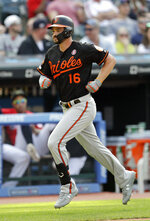 Baltimore Orioles' Trey Mancini runs the bases after hitting a solo home run off Cleveland Indians starting pitcher Adam Plutko in the fourth inning of a baseball game, Saturday, May 18, 2019, in Cleveland. (AP Photo/Tony Dejak)