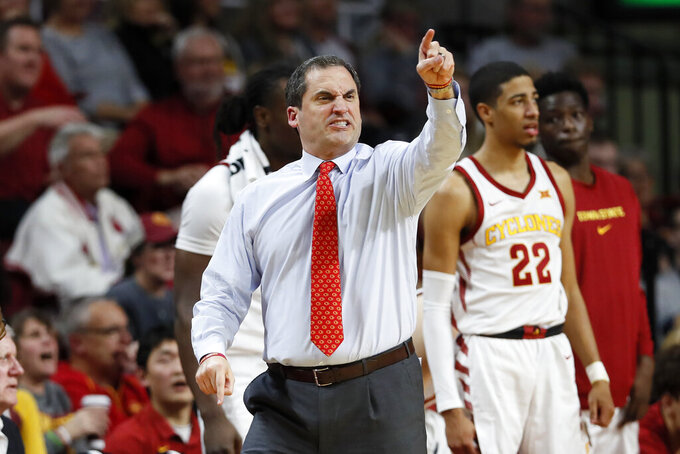Iowa State head coach Steve Prohm reacts to a call against his team during the second half of an NCAA college basketball game against Southern Mississippi, Tuesday, Nov. 19, 2019, in Ames, Iowa. Iowa State won 73-45. (AP Photo/Charlie Neibergall)