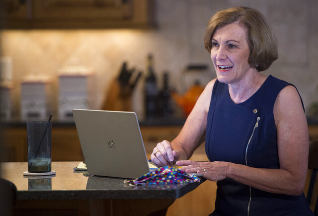 Senator Barbara Bollier, a Democrat representing Kansas District 7, works on her re-election campaign from her home, July 20, 2020, in Mission Hills, Kan. The likely Democratic nominee for U.S. Senate, Bollier, 62, a retired anesthesiologist, promises to be a