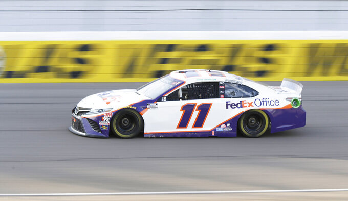 Denny Hamlin drives during a NASCAR Cup Series auto race Sunday, Sept. 27, 2020, in Las Vegas. (AP Photo/Isaac Brekken)