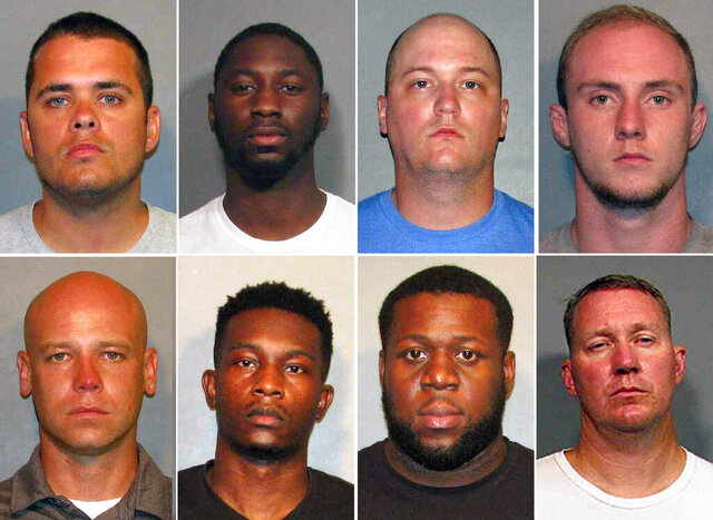 These photos provided by the Caddo Parish Sheriff's Office show, top row from left, police officers Aaron Jaudon, D'Andre Jackson, Mark Ordoyne and William Isenhour. Bottom row from left show police officers Christopher McConnell, Brandon Walker, Treveion Brooks and David Francis. A Louisiana grand jury has accused eight police officers of using excessive force in arresting two men after a chase in January. A district attorney said Tuesday, June 30, 2020, that a grand jury charged each officer on Monday with one count of malfeasance in office. (Caddo Sheriff's Office via AP)