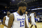 Seton Hall guard Myles Powell walks off the court after losing to Michigan State in an NCAA college basketball game Thursday, Nov. 14, 2019, in Newark, N.J. (AP Photo/Adam Hunger)