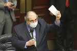 Rep. Joseph Geller, D-Aventura, debates the gambling bill during a special session, Wednesday, May 19, 2021, in Tallahassee, Fla. (AP Photo/Steve Cannon)