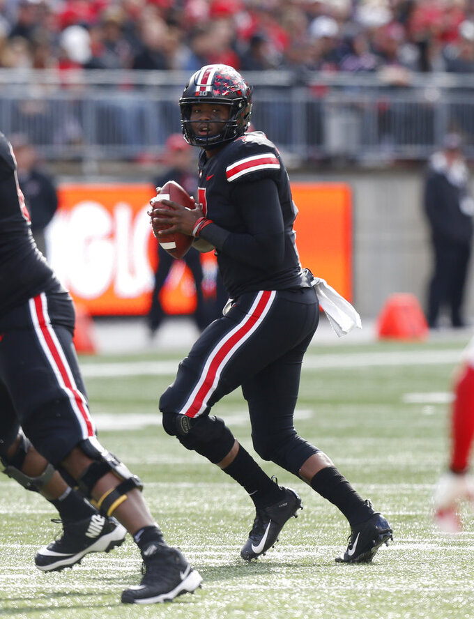Ohio State quarterback Dwayne Haskins drops back to pass against Nebraska during the first half of an NCAA college football game Saturday, Nov. 3, 2018, in Columbus, Ohio. (AP Photo/Jay LaPrete)