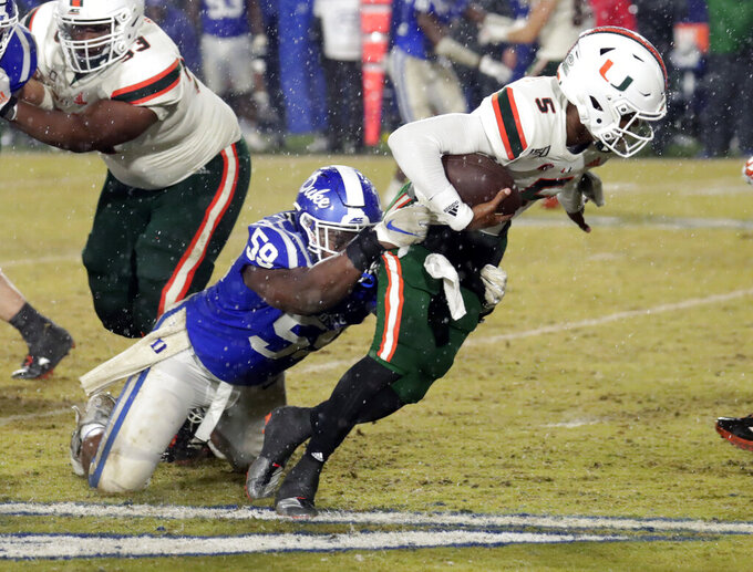 Duke beats Miami 27-17 to snap 5-game slide