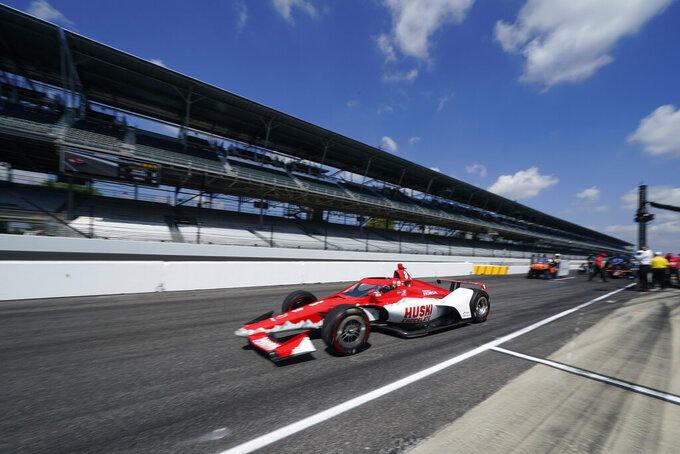 Marcus Ericsson, of Sweden, leaves the pits to qualify for the Indianapolis 500 auto race at Indianapolis Motor Speedway, Saturday, Aug. 15, 2020, in Indianapolis. (AP Photo/Darron Cummings)