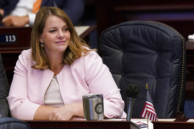 Florida Rep. Fiona McFarland looks on during a legislative session, Friday, April 30, 2021, at the Capitol in Tallahassee, Fla. (AP Photo/Wilfredo Lee)