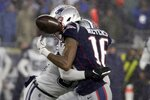 Dallas Cowboys safety Jeff Heath, rear, breaks up a pass intended for New England Patriots wide receiver Jakobi Meyers in the second half of an NFL football game, Sunday, Nov. 24, 2019, in Foxborough, Mass. (AP Photo/Elise Amendola)