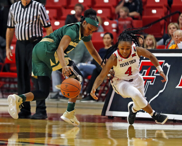 File-This Jan. 6, 2019, file photo shows Texas Tech's Chrislyn Carr, right,  trying to steal the ball from Baylor's Honesty Scott-Grayson, left, during the second half of an NCAA college basketball game in Lubbock, Texas. Carr has transferred to Baylor and joined the No. 9 Lady Bears after two-plus seasons at Big 12 rival Texas Tech. Baylor announced Carr's addition on Tuesday, Jan. 19, 2021,  though the school said the 5-foot-5 sophomore guard's eligibility and availability to play for her new team was still being determined. (Brad Tollefson/Lubbock Avalanche-Journal via AP, File)