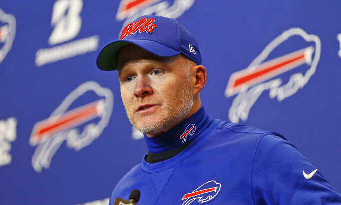 Buffalo Bills head coach Sean McDermott answers questions after an NFL football game against the Washington Redskins, Sunday, Nov. 3, 2019, in Orchard Park, N.Y. (AP Photo/John Munson)