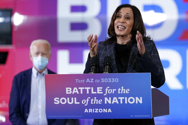 Democratic vice presidential candidate Sen. Kamala Harris, D-Calif., speaks at Carpenters Local Union 1912 in Phoenix, Thursday, Oct. 8, 2020, to kick off a small business bus tour. (AP Photo/Carolyn Kaster)