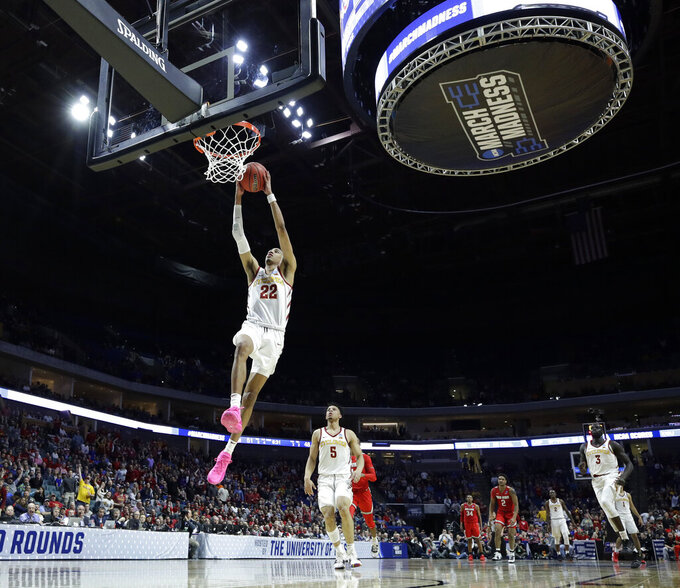 Iowa State's Tyrese Haliburton dunks the ball during the second half the first round men's college basketball game against Ohio State in the NCAA Tournament Friday, March 22, 2019, in Tulsa, Okla. Ohio State won 62-59. (AP Photo/Charlie Riedel)