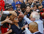 Democratic presidential candidate Sen. Bernie Sanders, I-Vt., greets supporters at a rally at Grand Park in Los Angeles, Saturday, March 23, 2019. The Vermont senator made a notable, second-place finish in California's 2016 presidential primary when he won 27 of 58 counties. (AP Photo/Damian Dovarganes)