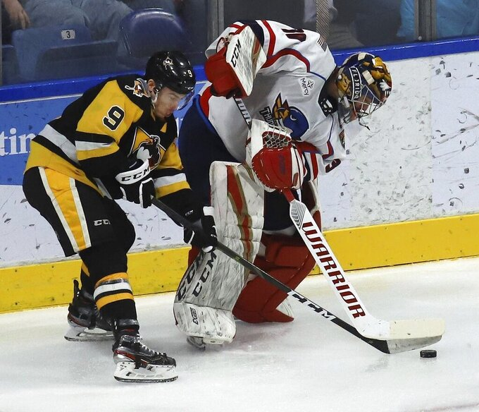 FILE - In this Dec. 31, 2019, file photo, Wilkes-Barre/Scranton Penguins' Jake Lucchini, left, battles Springfield Thunderbirds' Philippe Desrosiers for the puck behind the goal during an American Hockey League game in Wilkes-Barre, Pa. Three American Hockey League teams have opted out of playing this season because of the ongoing COVID-19 pandemic. The Charlotte Checkers, Milwaukee Admirals and Thunderbirds opted out and will return in 2021-22, the AHL said. (Dave Scherbenco/The Citizens' Voice via AP, File)