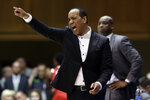 North Carolina State head coach Kevin Keatts directs his players during the first half of an NCAA college basketball game against Duke in Durham, N.C., Monday, March 2, 2020. (AP Photo/Gerry Broome)