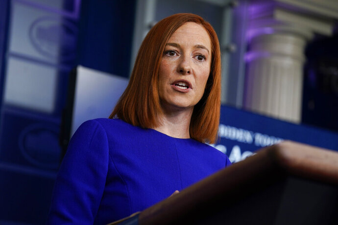 White House press secretary Jen Psaki speaks during a press briefing at the White House, Wednesday, Jan. 20, 2021, in Washington. (AP Photo/Evan Vucci)