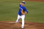 Toronto Blue Jays pitcher Chase Anderson delivers to a Baltimore Orioles batter during the sixth inning of a baseball game Saturday, Sept. 26, 2020, in Buffalo, N.Y. (AP Photo/Jeffrey T. Barnes)