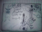 FILE - This undated file photo obtained by The Associated Press shows a drawing of a prisoner being abused at a prison in Yemen run by the United Arab Emirates. Arabic from right to left reads: