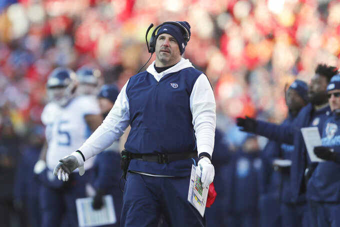 Tennessee Titans head coach Mike Vrabel reacts during the first half of the NFL AFC Championship football game against the Kansas City Chiefs Sunday, Jan. 19, 2020, in Kansas City, MO. (AP Photo/Jeff Roberson)