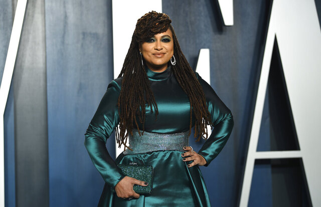 FILE -This Feb. 9, 2020 file photo shows filmmaker Ava DuVernay at the Vanity Fair Oscar Party in Beverly Hills, Calif. DuVernay directed the four-part Netflix series