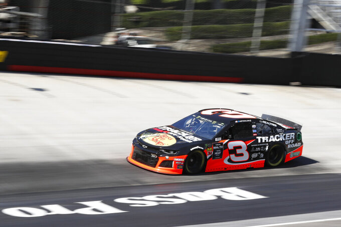Driver Austin Dillon makes his was around the track during practice for a NASCAR Cup Series auto race, Friday, Aug. 16, 2019, in Bristol, Tenn. (AP Photo/Wade Payne)