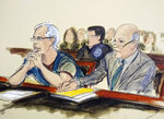 FILE - In this July 15, 2019 courtroom artist's sketch, defendant Jeffrey Epstein, left, and his attorney Martin Weinberg listen during a bail hearing in federal court, in New York. A previously undisclosed federal investigation into Jeffrey Epstein included an examination of whether he was traveling with underage girls as recently as 2018, newly released documents show. Epstein killed himself in jail in August 2019 while awaiting trial on sex trafficking charges. (Elizabeth Williams via AP, File)