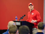 Nebraska NCAA college football head coach Scott Frost answers questions during a news conference in Lincoln, Neb., Wednesday, March 14, 2018. The biggest question Frost faces as he enters spring practice: Who'll play quarterback? Patrick O'Brien, Tristan Gebbia and incoming freshman Adrian Martinez all are being given an equal chance to win the job. (AP Photo/Nati Harnik)