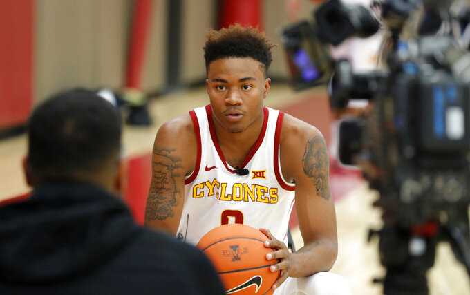 Iowa State forward Zion Griffin is interviewed during the university's NCAA college basketball media day, Thursday, Oct. 11, 2018, in Ames, Iowa. (AP Photo/Charlie Neibergall)