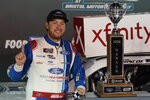Chase Briscoe poses with the trophy after winning the NASCAR Xfinity Series auto race Friday, Sept. 18, 2020, in Bristol, Tenn. (AP Photo/Steve Helber)