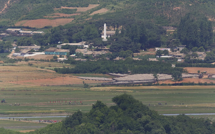 In this Tuesday, June 11, 2019, photo, North Koreans work in the field of their town of Kaepoong seen from the Unification Observation Post in Paju, South Korea, near the border with North Korea. North Korea on Wednesday, June 12 says it's actively fighting the spread of highly contagious African swine fever weeks after it reported an outbreak near its border with China. (AP Photo/Ahn Young-joon)