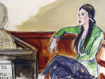 In this courtroom drawing, Emma Coronel Aispuro, wife of Mexican drug kingpin Joaquin