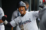Miami Marlins' Harold Ramirez celebrates his solo home run during the fourth inning of the team's baseball game against the Detroit Tigers in Detroit, Tuesday, May 21, 2019. (AP Photo/Paul Sancya)
