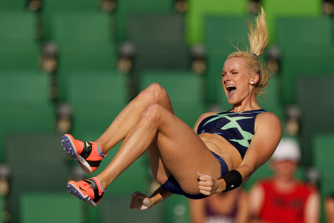 Katie Nageotte celebrates during the finals of the women's pole vault at the U.S. Olympic Track and Field Trials Saturday, June 26, 2021, in Eugene, Ore. (AP Photo/Charlie Riedel)