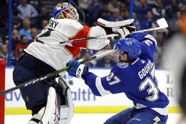 Tampa Bay Lightning center Yanni Gourde (37) crashes into Florida Panthers goaltender Sergei Bobrovsky (72) during the second period of an NHL hockey game Monday, Dec. 23, 2019, in Tampa, Fla. (AP Photo/Chris O'Meara)