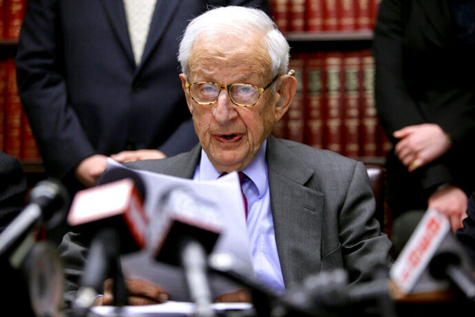 FILE - In this Dec. 16, 2009 file photo, Manhattan District Attorney Robert Morgenthau speaks during a press conference in New York. Morgenthau, the longest-serving former Manhattan district attorney who tried mob kingpins, music stars and white-collar criminals and inspired a character on