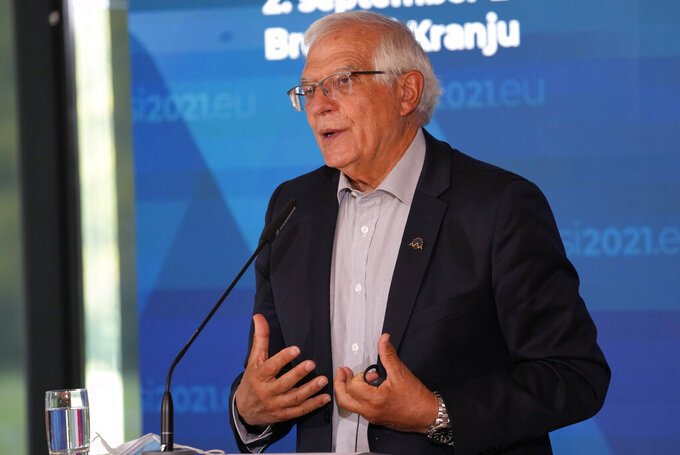 European Union foreign policy chief Josep Borrell speaks during a media conference at the conclusion of a meeting of EU foreign ministers at the Brdo Congress Center in Kranj, Slovenia, Friday, Sept. 3, 2021. European Union officials listed Friday a set of conditions to the Taliban including the respect of human rights and rule of law that should define the level of engagement the 27-nation bloc will develop with the new Afghanistan rulers. (AP Photo/Darko Bandic)