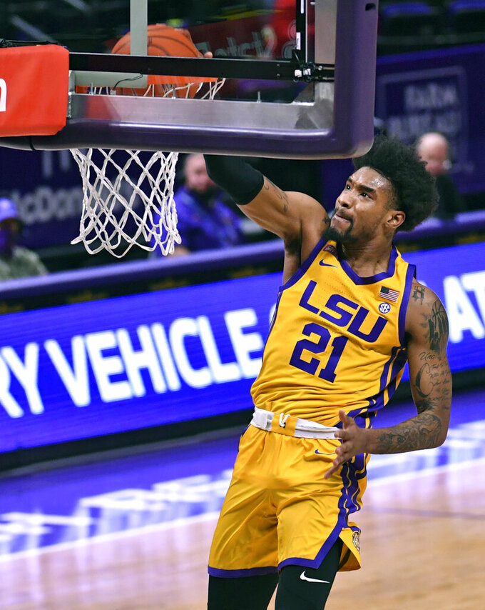 LSU guard Charles Manning Jr. dunks against Georgia during the first half of an NCAA college basketball game Wednesday, Jan. 6, 2021, in Baton Rouge, La. (Hilary Scheinuk/The Advocate via AP)