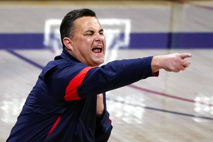 Arizona head coach Sean Miller reacts after a play against Oregon State during the first half of an NCAA college basketball game, Thursday, Feb. 11, 2021, in Tucson, Ariz. (AP Photo/Rick Scuteri)