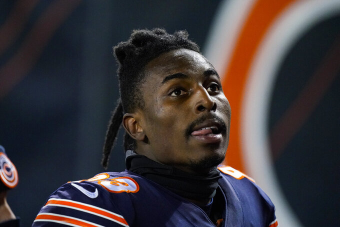 Chicago Bears wide receiver Javon Wims (83) walks to the locker room after being ejected for unnecessary roughness in the second half of an NFL football game against the New Orleans Saints in Chicago, Sunday, Nov. 1, 2020. (AP Photo/Nam Y. Huh)