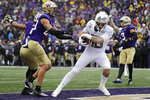 Oregon's Spencer Webb scores a touchdown as Washington's Asa Turner defends in the first half of an NCAA college football game Saturday, Oct. 19, 2019, in Seattle. (AP Photo/Elaine Thompson)