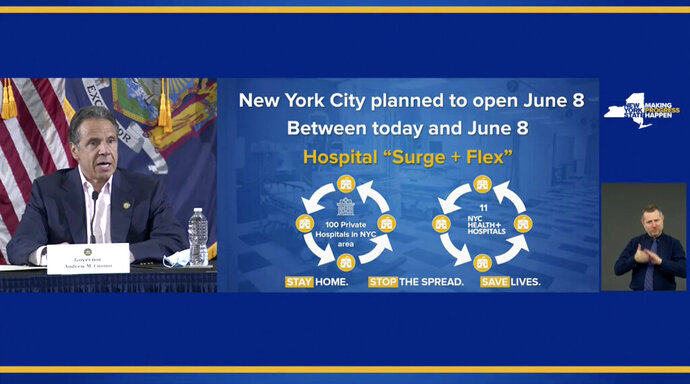In this image made from video provided by the office of Gov. Andrew M. Cuomo, Gov. Cuomo updates the media on New York's coronavirus response, Saturday, May 30, 2020 in New York. (Office of Governor Andrew M. Cuomo via AP)