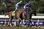 Jockey, Javier Castellano, left, aboard British Idiom edges out Donna Veloce, ridden by Flavien Prat, to win the Breeders' Cup Juvenile Fillies horse race at Santa Anita Park, Friday, Nov. 1, 2019, in Arcadia, Calif. (AP Photo/Gregory Bull)